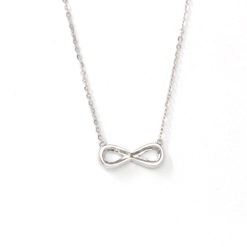 18K White Gold Infinity .03 CTW Diamond Pendant Necklace Baikalla Jewerly