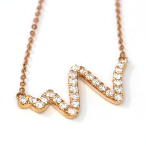 18K Rose Gold 0.365 CTW Heartbeat Diamond Pendant Necklace Baikalla Jewelry