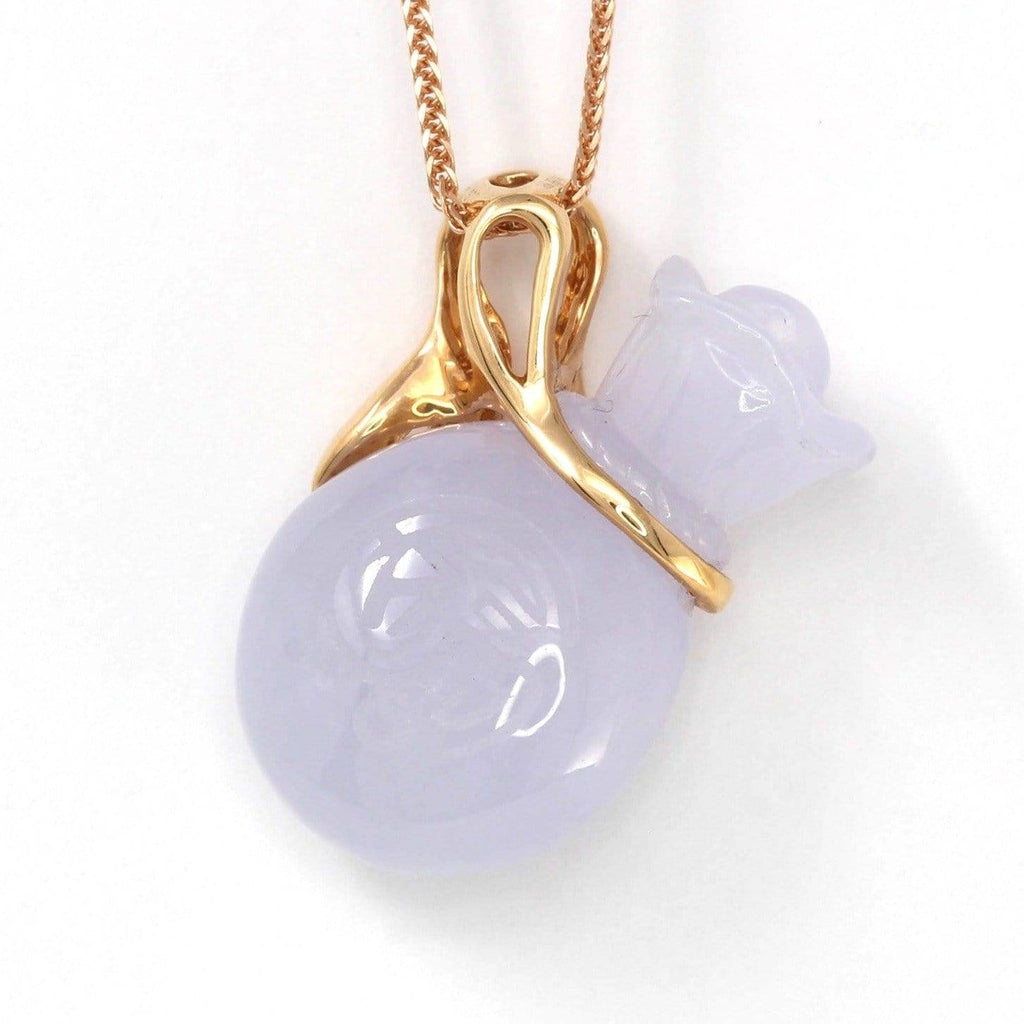 18k Rose Gold Genuine Burmese Lavender Jadeite Money Bag Pendant Necklace Baikalla Jewelry