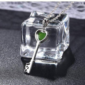 Sterling Silver Genuine Nephrite Green Jade Key Pendant Necklace