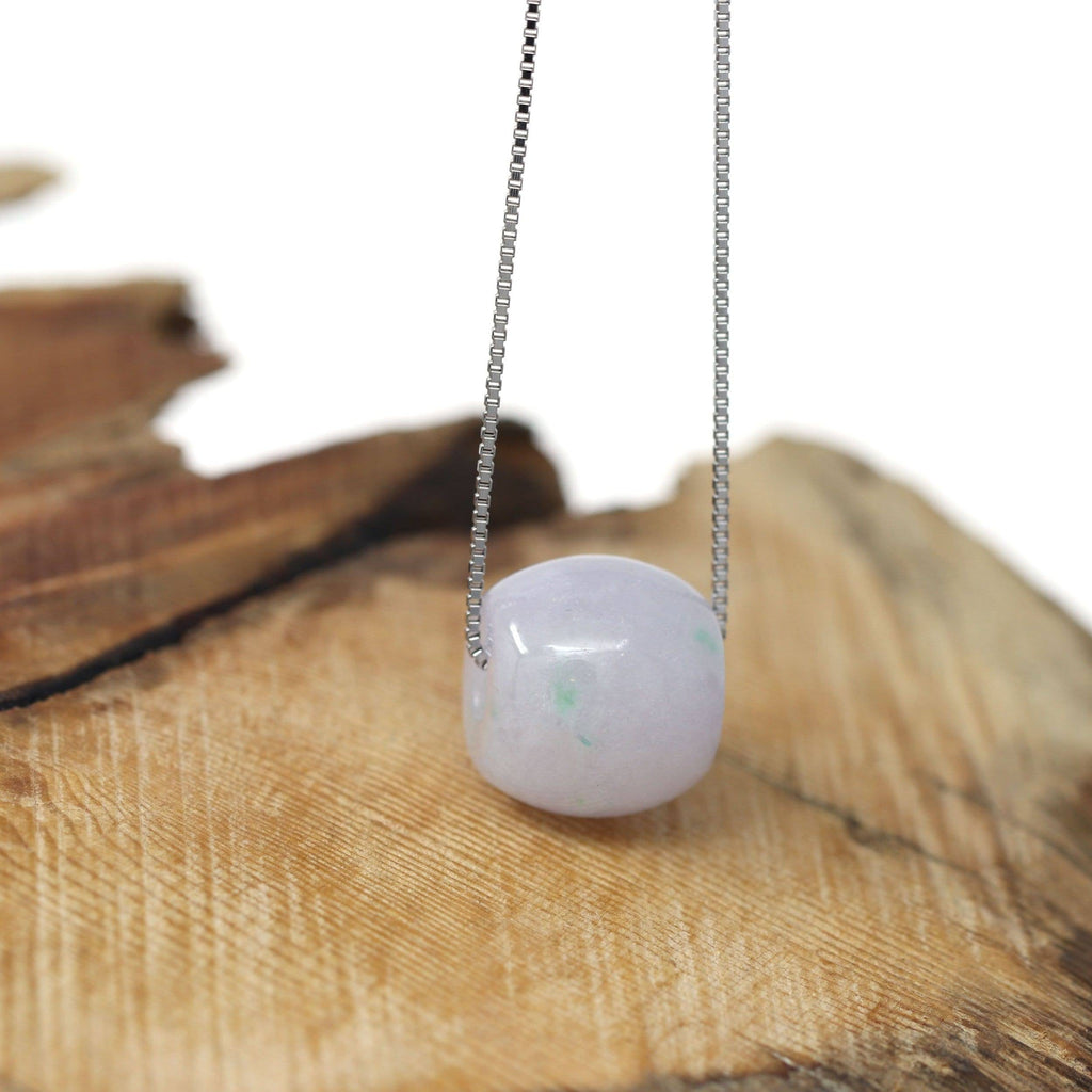 "Baikalla™ ""Good Luck Button"" Necklace Real Lavender Jade Lucky TongTong Donut Pendant Necklace"