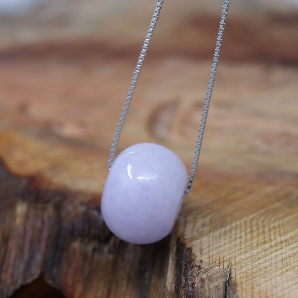 "Baikalla™ ""Good Luck Button"" Necklace Real Lavender-Green Jade Lucky KouKou Pendant Necklace"