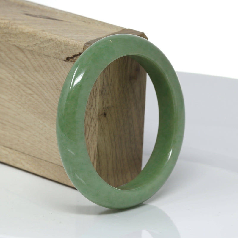 "Baikalla™ ""Classic Bangle"" Genuine Burmese High End Deep Green Jadeite Jade Bangle Bracelet (56.43mm) #527"