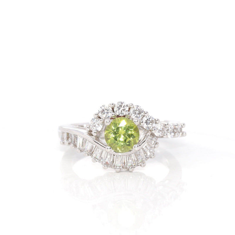 Baikalla™ Gemstone Collection Sterling Silver Genuine Peridot & CZ Vintage Ring