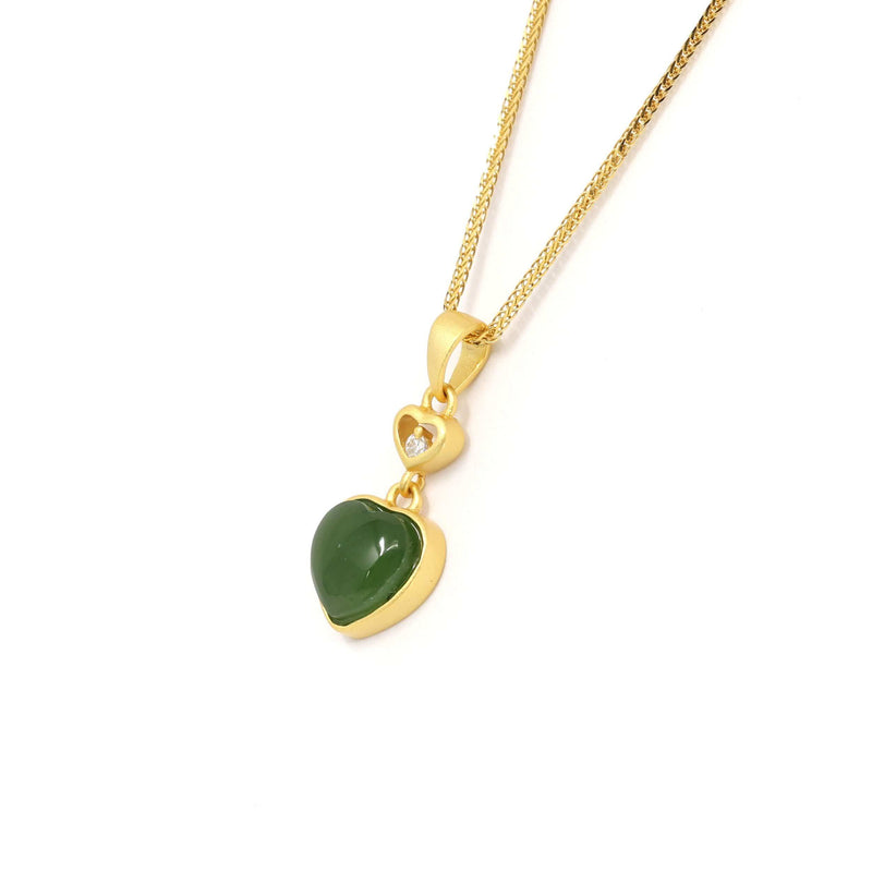 "Baikalla™ ""Love Heart"" Sterling Silver Green Jade Classic Love Pendant Necklace"