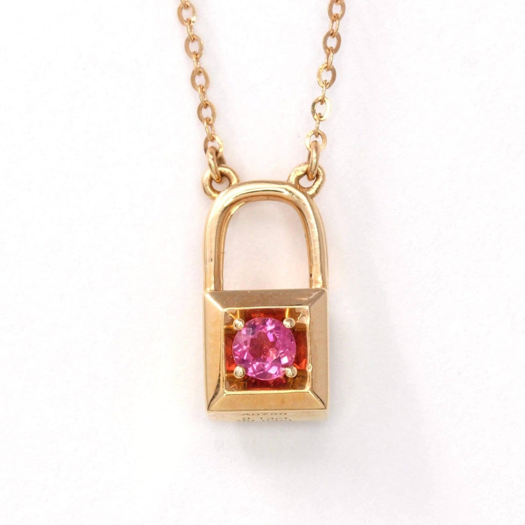 18K Rose Gold Baby Pink Tourmaline &  Diamond Love-Lock Pendant Necklace Baikalla jewelry