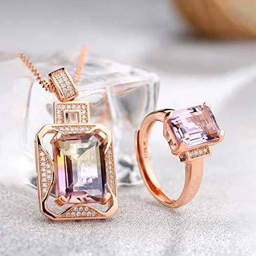 Silver Rose Gold Genuine AAA Royal Ametrine Pendant Necklace Ring Sets