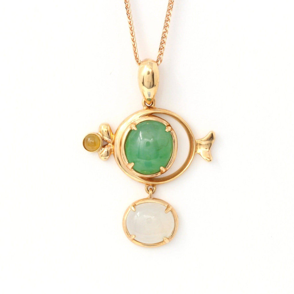 "18k Rose Gold Genuine Burmese Jadeite "" Fish"" Pendant Necklace Baikalla Jewelry"