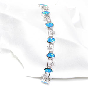 Baikalla™ Sterling Silver Lab-Created Classic Oval Opal Cute Bracelet With CZ
