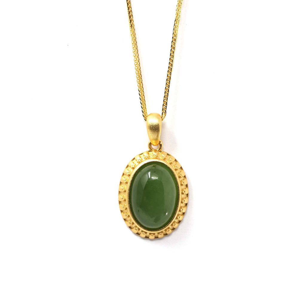 "Baikalla™ ""Lucky Oval Jade"" Sterling Silver Nephrite Green Jade Classic Pendant Necklace"