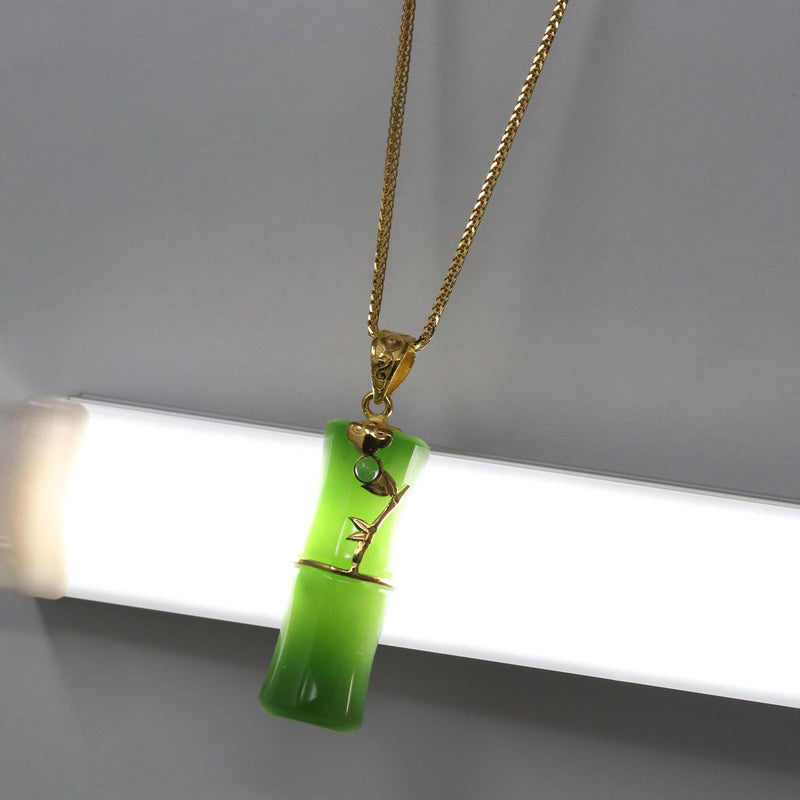 24k Yellow Gold Genuine Nephrite Green Jade Bamboo Pendant Necklace