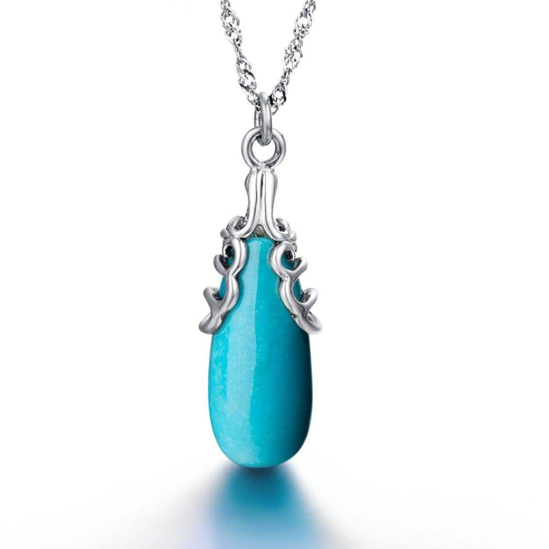 "Baikalla™ ""Sasha"" Genuine Turquoise Drop Pendant Necklace with Sterling Silver"
