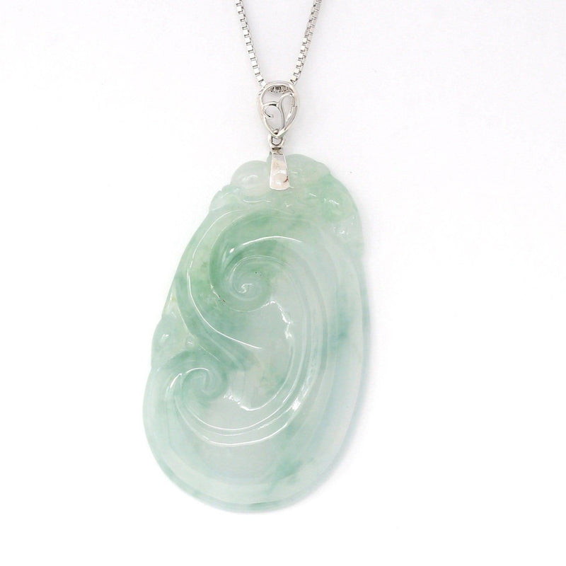 Genuine Burmese Ice Blue Jadeite RuYi Pendant with 18k White Gold Bail Baikalla Jewelry