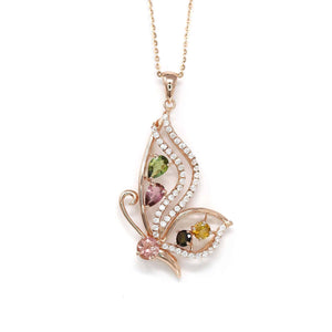 Baikalla™ Sterling Silver Tourmaline Butterfly Pendant Necklace With CZ