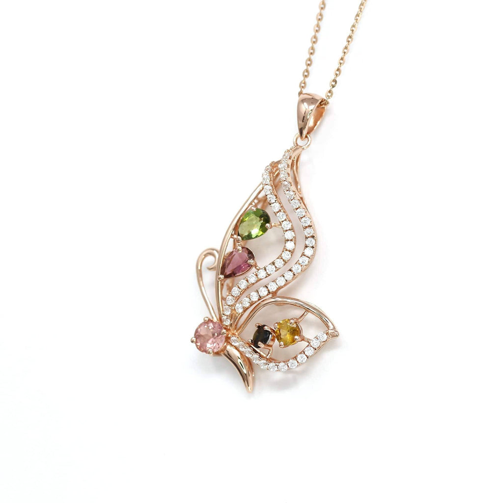 Sterling Silver Tourmaline Butterfly Pendant Necklace With CZ