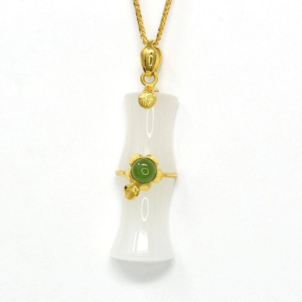 24k Yellow Solid Gold Genuine Nephrite White & Green Jade Bamboo Pendant Necklace(N2)
