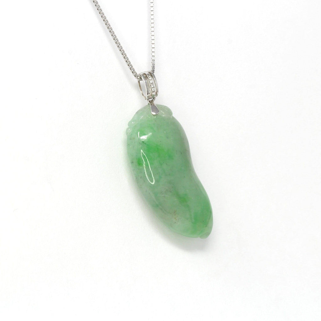 "18K Rose Gold Genuine Burmese Green Jadeite""FuShou Melon"" Pendant Necklace"