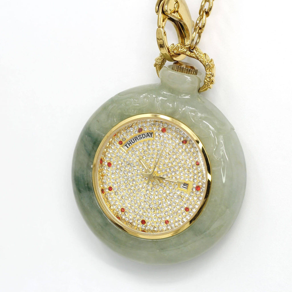 Genuine Burmese Ice Jadeite Jade Pocket Watch (Art & Collectibles) (WA1)