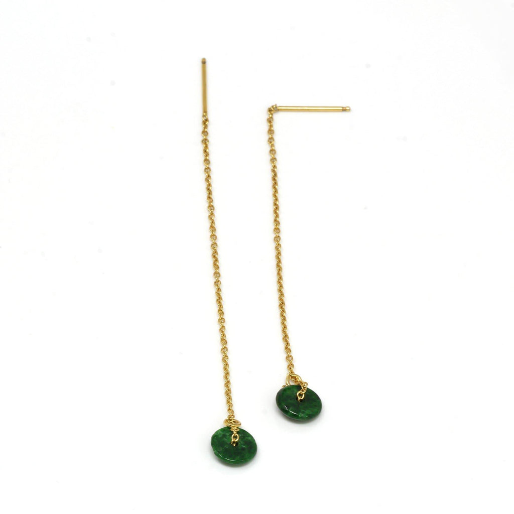 "Baikalla™ ""Lucky Button"" 14K Royal Yellow Gold Genuine Jade Jadeite Lucky Nuts Drop Earring 14K Royal Yellow Gold Genuine Jade Jadeite Lucky Nuts Drop Earrings #E11"