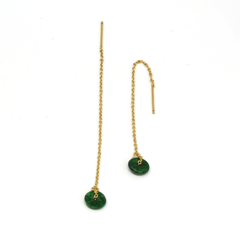 14K Royal Yellow Gold Genuine Jade Jadeite Lucky Nuts Drop Earrings #E11