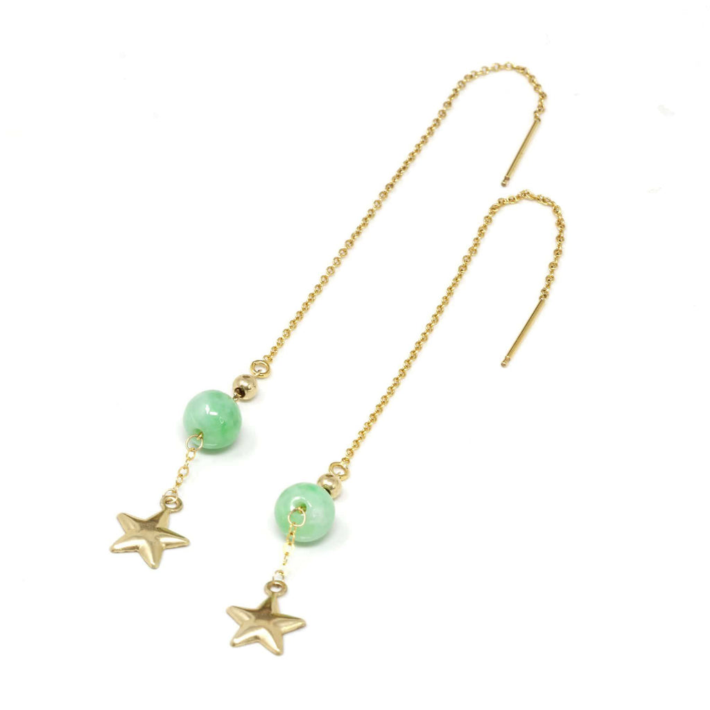"Baikalla™ ""You are the brightest star to me"" 14K Royal Yellow Gold Genuine Jade Jadeite Beads and Gold Star Longer Earrings"