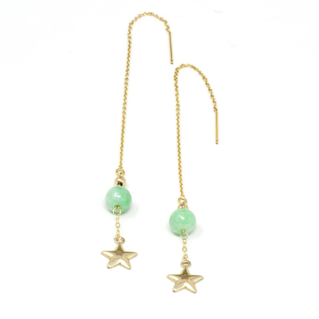 14K Royal Yellow Gold Genuine Jade Jadeite Beads and Gold Star Longer Earrings #E11