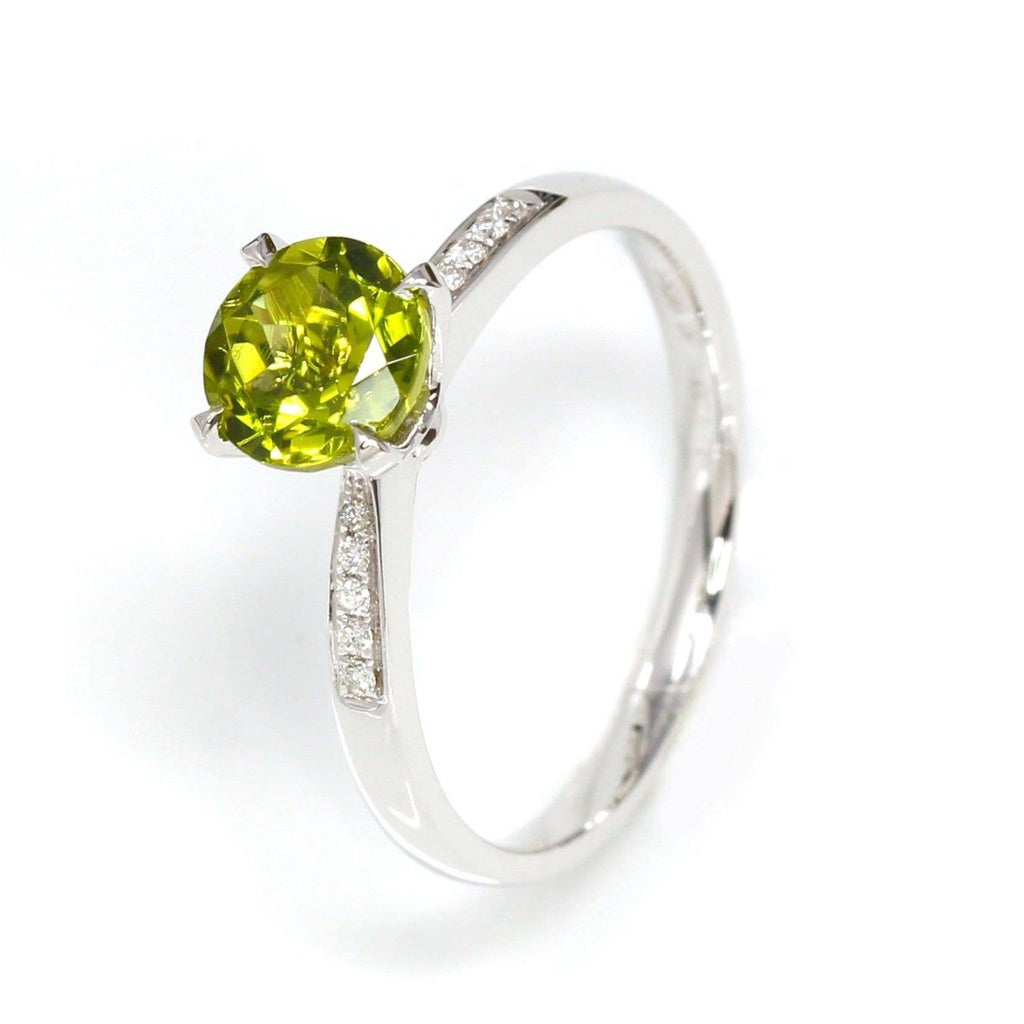 14k White Gold Natural Round Brilliant Peridot Diamond Anniversary Ring #R13