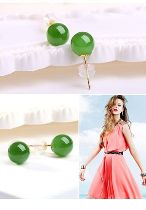 18K Gold Genuine Nephrite Green Jade (high quality) Earrings