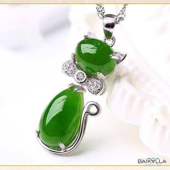 Sterling Silver Genuine Nephrite Green Jade Cat Pendant Baikalla Jewelry