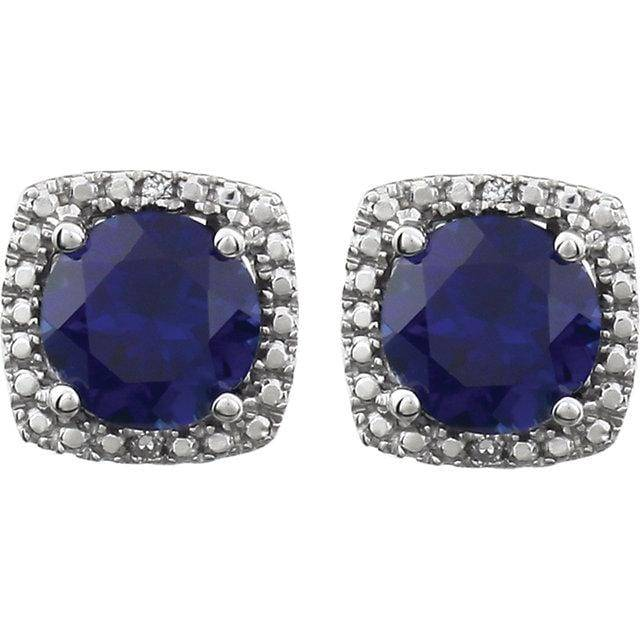 Sterling Silver Created Blue Sapphire & .015 CTW Diamond Earrings