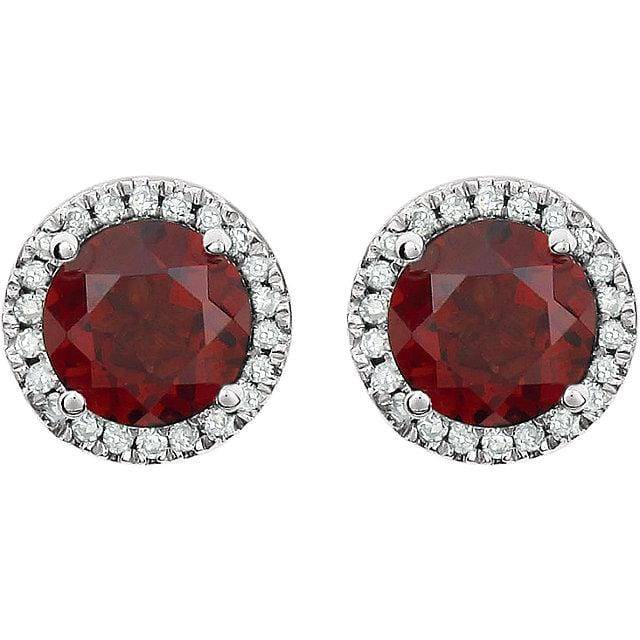 14K White Mozambique Garnet & 1/8 CTW Diamond Earrings