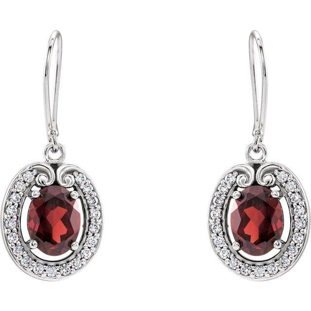14K White Mozambique Garnet & 3/8 CTW Diamond Earrings