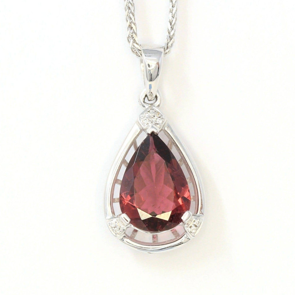 18k White Gold Tourmaline & Diamonds Tear Drop Pendant Necklace Baikalla Jewelry