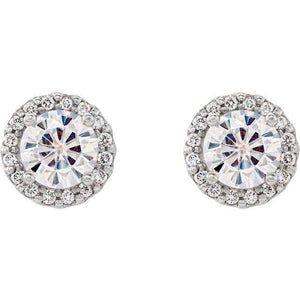 14K White 5 mm Round Forever One™ Moissanite and 1/8 CTW Diamond Earrings