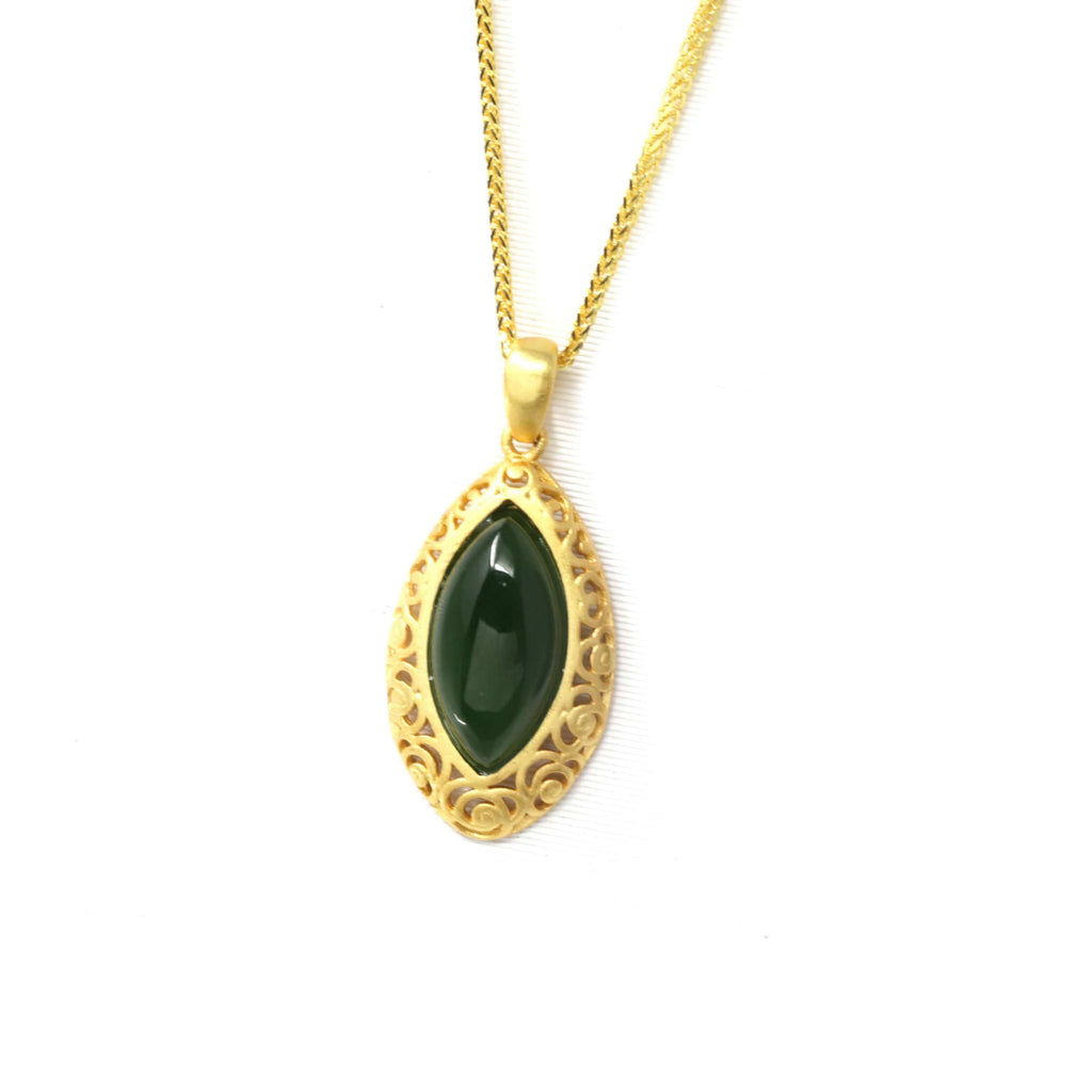 Sterling Silver Nephrite Green Jade Classic Marquise Pendant Necklace
