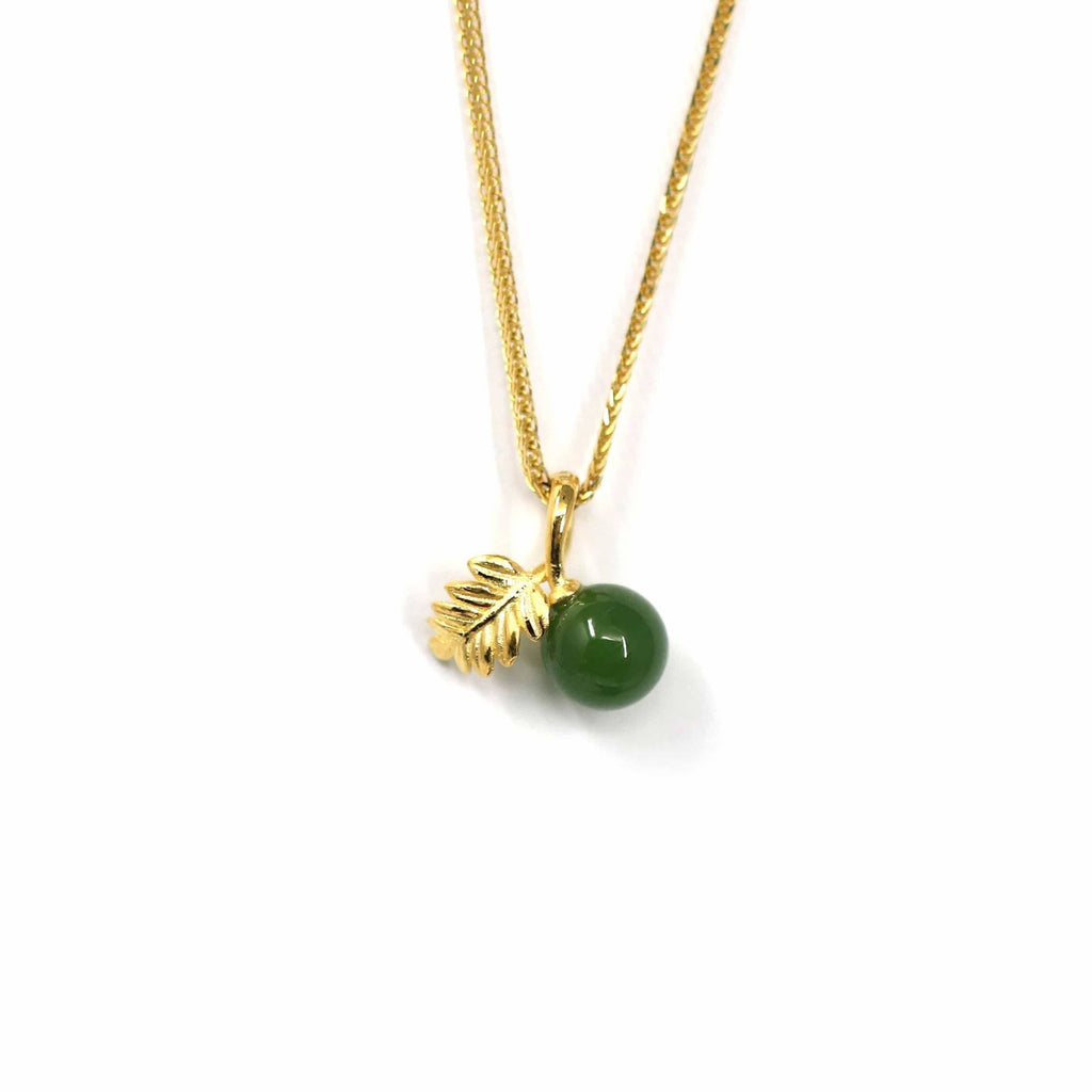 24k Yellow Gold Genuine Green Jade Bead With Leaf Pendant Necklace