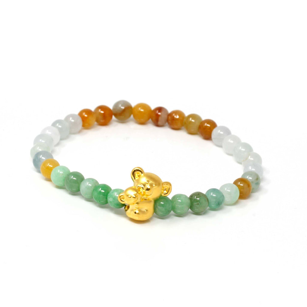 Genuine High-quality Jade Jadeite Colorful Bracelet Bangle with 24k Yellow Gold Koala Bear Charm#401