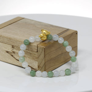Genuine High-quality Jade Jadeite Bracelet Bangle with 24k Yellow Gold Koala Bear Charm #402