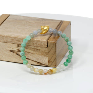 Genuine High-quality Jade Jadeite Bracelet Bangle with 24k Yellow Gold UFO Charm Colorful  #418