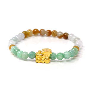 Genuine High-quality Jade Jadeite Bracelet Bangle with 24k Yellow Gold Train Engine Charm Colorful #423