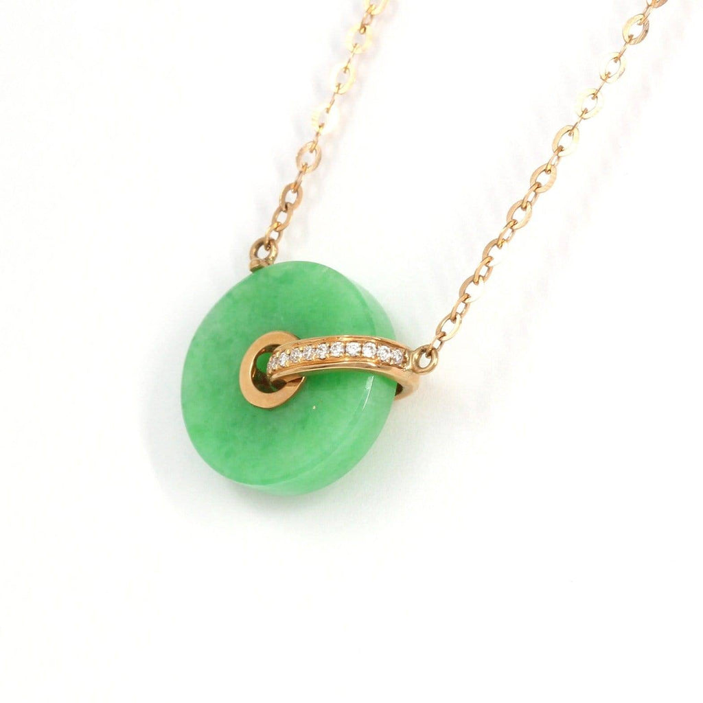 18k Rose Gold Genuine Burmese Jadeite Lucky Pendant Necklace With Diamonds
