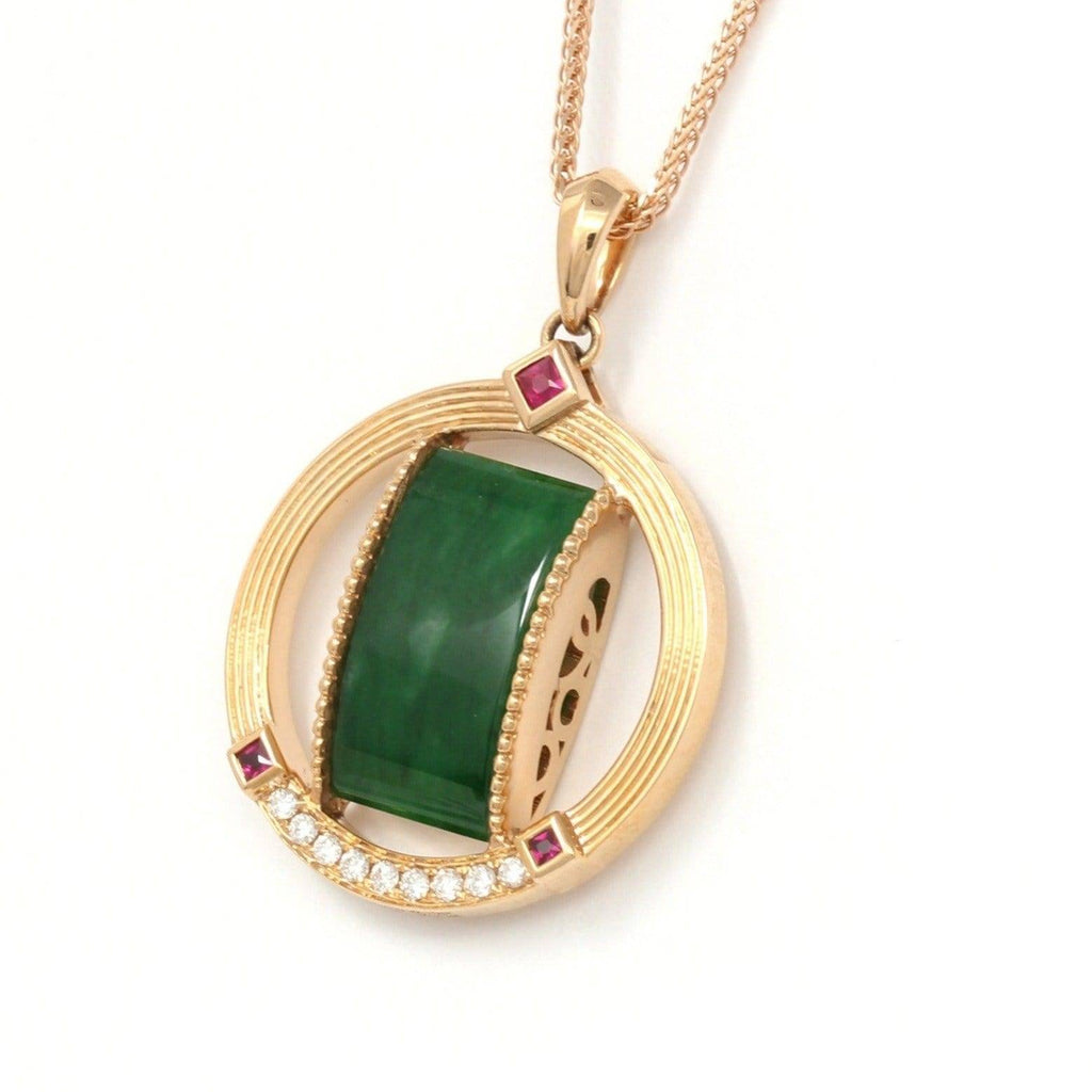 18k Rose Gold Genuine Burmese Jadeite Pendant Necklace With Diamond & Ruby