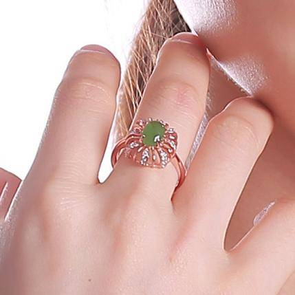 Rose Gold Plated Sterling Silver Genuine Nephrite Green Jade Ring