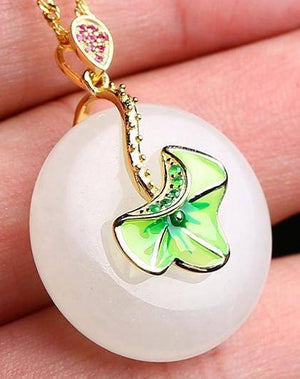 Genuine White Nephrite Jade Necklace with Gold Plated Sterling Silver and Pink & Green CZ