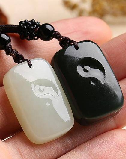 Genuine Nephrite White & Black Jade Yin Yang Pendant Necklace