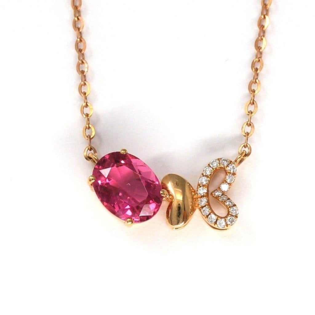 18K Rose Gold Baby Pink Tourmaline & 1/5 CTW Diamond Pendant Necklace Baikalla