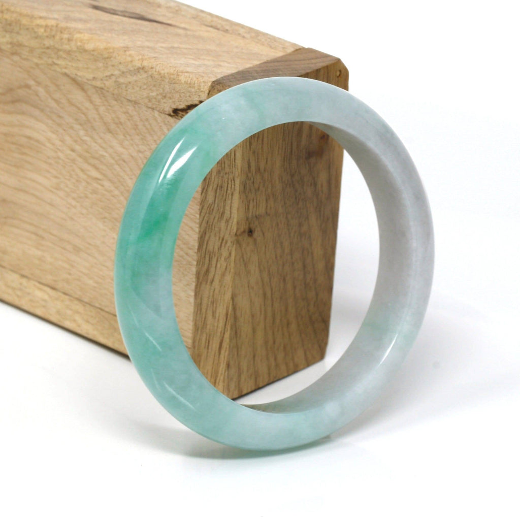 Genuine Burmese Ice-Green Jadeite Jade Bangle Bracelet ( 58 mm ) #105