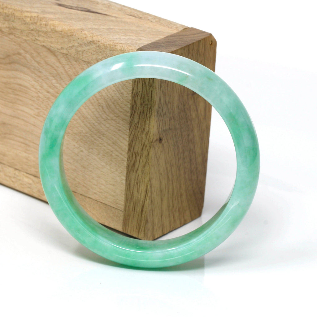 Genuine Burmese Apple Green Jadeite Jade Bangle Bracelet ( 57.6 mm) #106