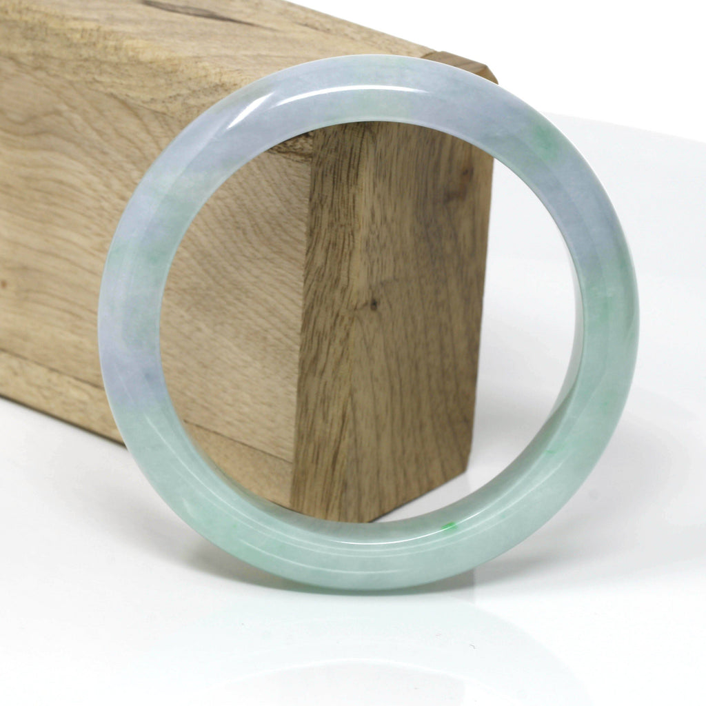 Genuine Burmese Lavender-Green Jadeite Jade Bangle Bracelet ( 61.8 mm ) #108