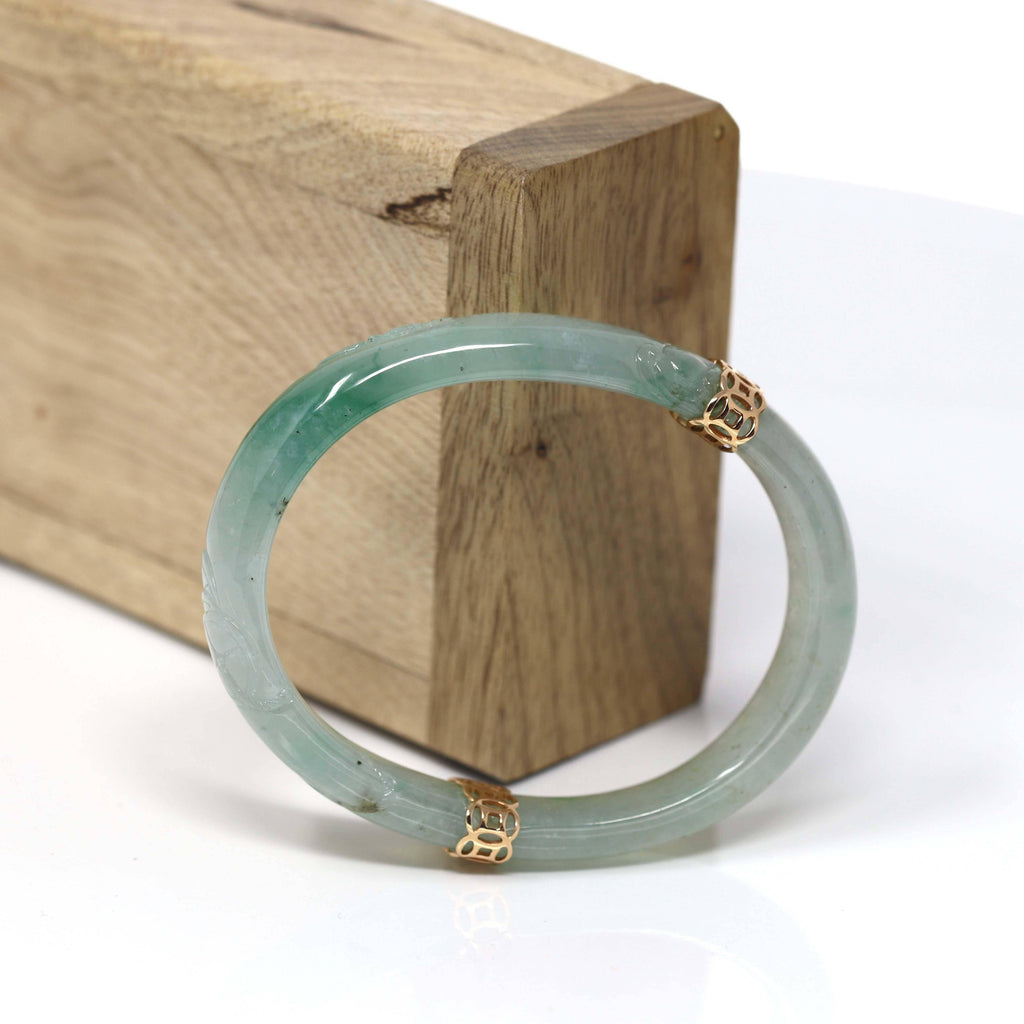 "Baikalla™ ""Classic Bangle"" 18k Genuine Oval Jadeite Jade (high quality) Bracelet Bangle  ( 54.4 mm )#66"